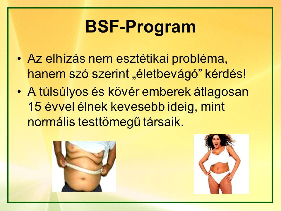 """BSF-Program Az elhízás nem esztétikai probléma, hanem szó szerint """"életbevágó"""" kérdés! A túlsúlyos és kövér emberek átlagosan 15 évvel élnek kevesebb"""
