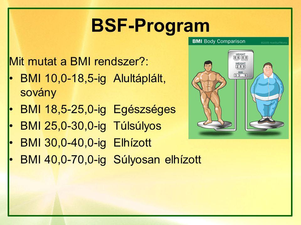 BSF-Program Mit mutat a BMI rendszer?: BMI 10,0-18,5-ig Alultáplált, sovány BMI 18,5-25,0-ig Egészséges BMI 25,0-30,0-ig Túlsúlyos BMI 30,0-40,0-ig El