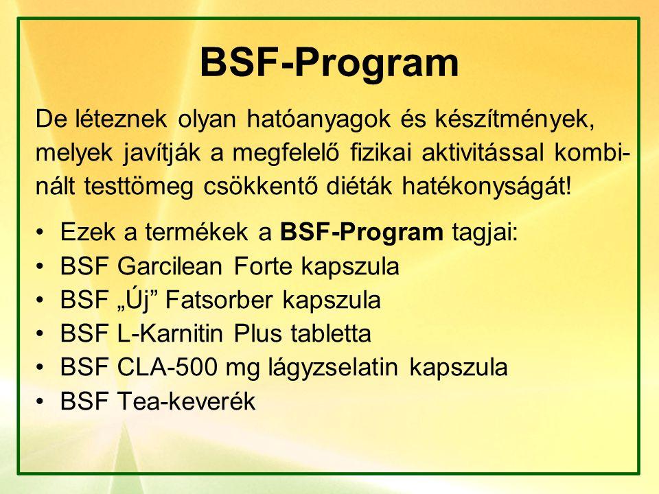 BSF-Program BSF Garcilean Forte kapszula (90 db/doboz): Új, hatékonyabb összetétel (750 mg HCA!) ( A HCA meggátolja a zsírok depózódását, lebontja a már lerakódott zsírokat.Klinikai bizonyítékok a hatékonyságra.) Zödtea-kivonat (Polifenolok: EGC, EGCG) Jelentős szerep a zsíranyagcserében, antioxidáns védelem.