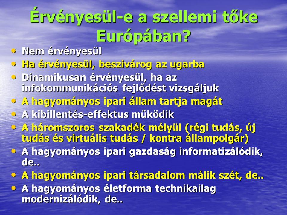 Érvényesül-e a szellemi tőke Európában? Nem érvényesül Nem érvényesül Ha érvényesül, beszivárog az ugarba Ha érvényesül, beszivárog az ugarba Dinamiku