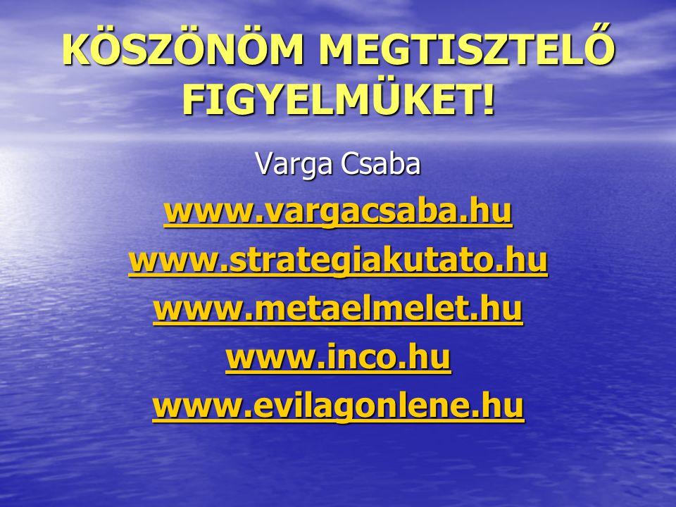 KÖSZÖNÖM MEGTISZTELŐ FIGYELMÜKET! Varga Csaba www.vargacsaba.hu www.strategiakutato.hu www.metaelmelet.hu www.inco.hu www.evilagonlene.hu