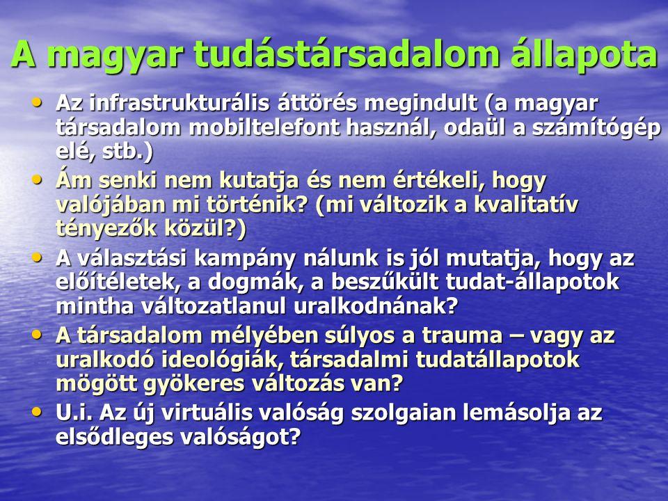 A magyar tudástársadalom állapota Az infrastrukturális áttörés megindult (a magyar társadalom mobiltelefont használ, odaül a számítógép elé, stb.) Az