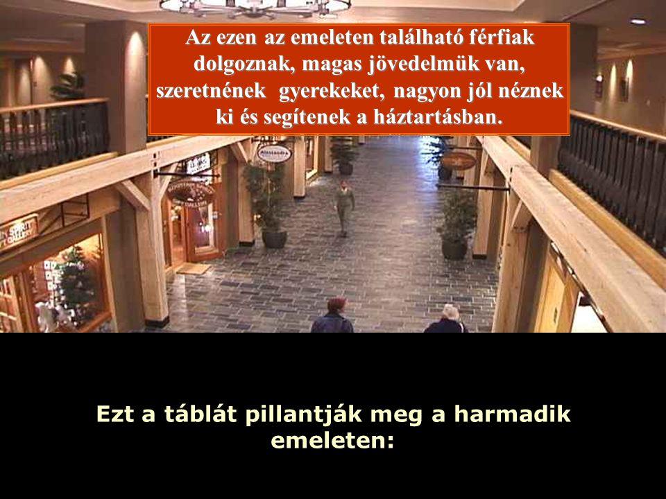Ria Slides Ezt a táblát pillantják meg a harmadik emeleten: Az ezen az emeleten található férfiak dolgoznak, magas jövedelmük van, szeretnének gyerekeket, nagyon jól néznek ki és segítenek a háztartásban.