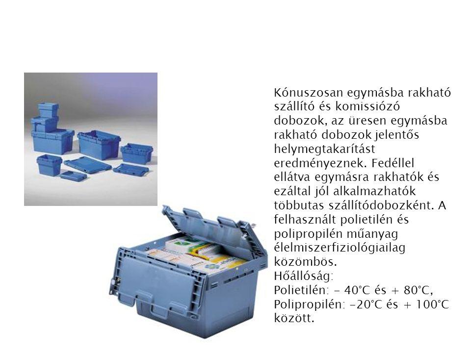 Kónuszosan egymásba rakható szállító és komissiózó dobozok, az üresen egymásba rakható dobozok jelentős helymegtakarítást eredményeznek. Fedéllel ellá