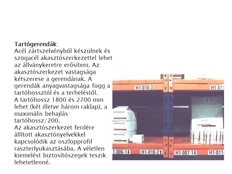 Tartógerendák: Acél zártszelvényből készülnek és szögacél akasztószerkezettel lehet az állványkeretre erősíteni. Az akasztószerkezet vastagsága kétsze