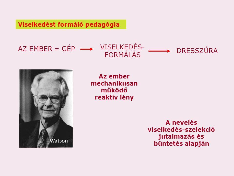 AZ EMBER = GÉP VISELKEDÉS- FORMÁLÁS DRESSZÚRA Watson Az ember mechanikusan működő reaktív lény A nevelés viselkedés-szelekció jutalmazás és büntetés a