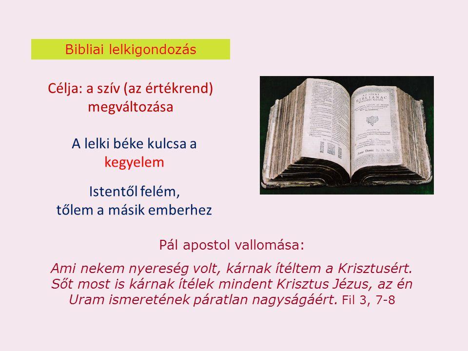 Bibliai lelkigondozás Célja: a szív (az értékrend) megváltozása Pál apostol vallomása: Ami nekem nyereség volt, kárnak ítéltem a Krisztusért. Sőt most