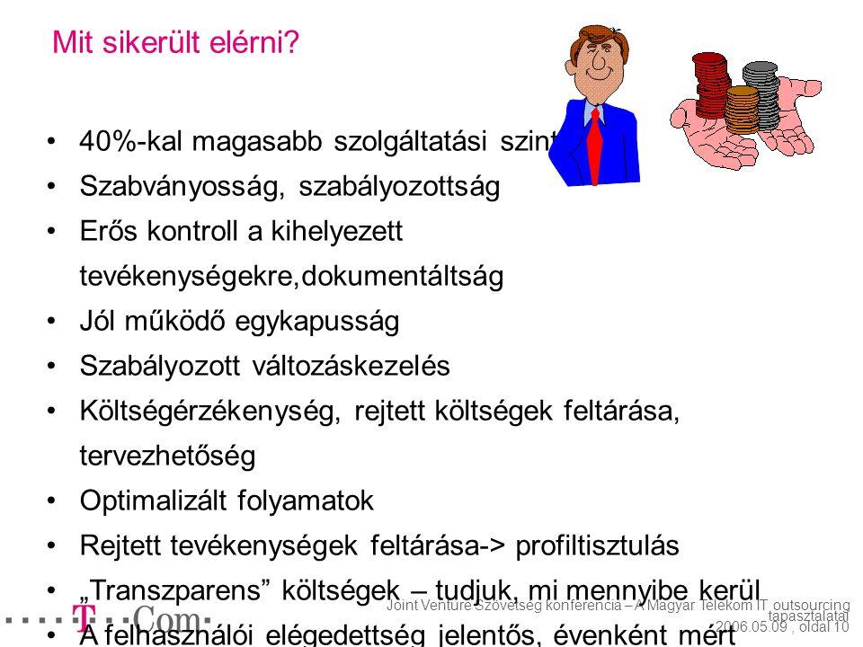 Joint Venture Szövetség konferencia – A Magyar Telekom IT outsourcing tapasztalatai 2006.05.09, oldal 9 Hogyan ellenőrizzük a teljesítést? Világosan é