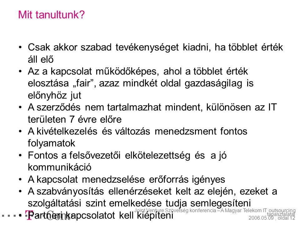 Joint Venture Szövetség konferencia – A Magyar Telekom IT outsourcing tapasztalatai 2006.05.09, oldal 11 Mi ment a vártnál nehezebben? A szabványtól e