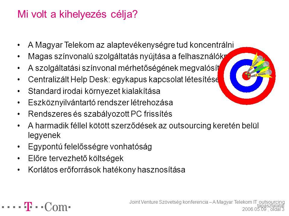 Joint Venture Szövetség konferencia – A Magyar Telekom IT outsourcing tapasztalatai 2006.05.09, oldal 2 Milyen volt a helyzet a kihelyezés előtt? Foly
