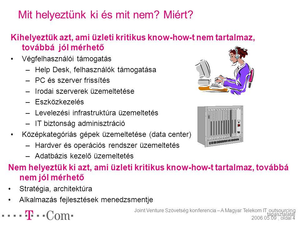 Joint Venture Szövetség konferencia – A Magyar Telekom IT outsourcing tapasztalatai 2006.05.09, oldal 3 Mi volt a kihelyezés célja? A Magyar Telekom a