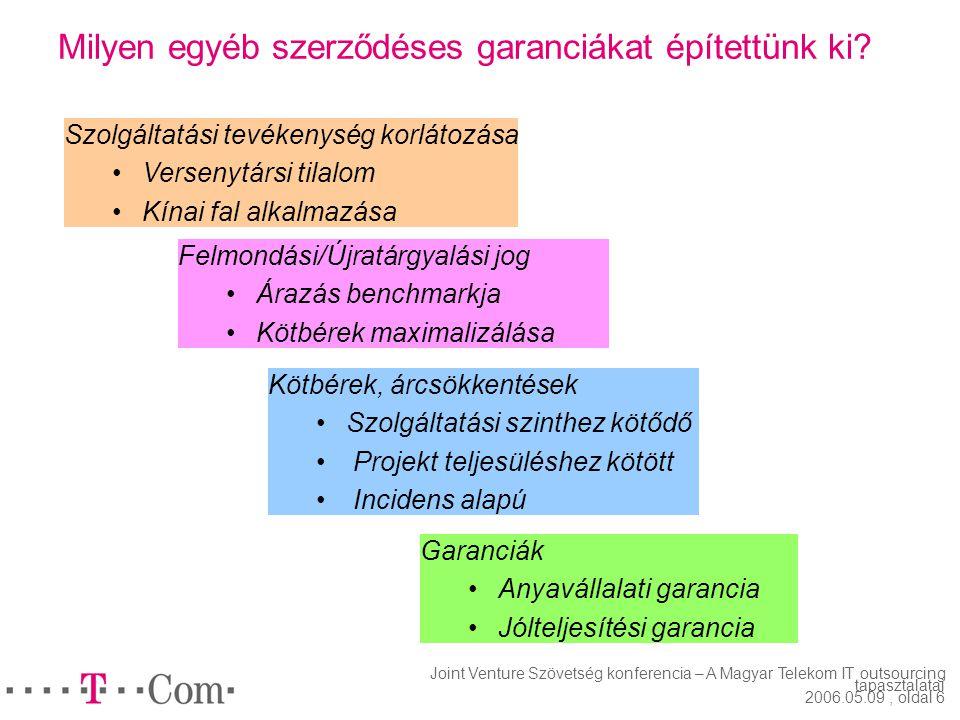 Joint Venture Szövetség konferencia – A Magyar Telekom IT outsourcing tapasztalatai 2006.05.09, oldal 5 Hogyan biztosítottuk a volumen rugalmasságot?