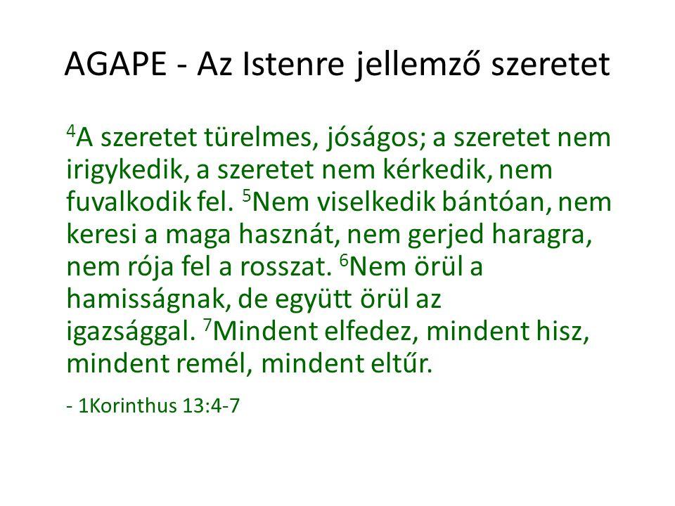 AGAPE - Az Istenre jellemző szeretet Olvasuk el mégegyszer úgy, hogy Jézus életére gondolunk, és a szeretet szót Jézus nevével helyettesítjük!