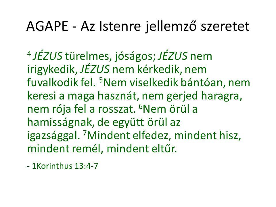 AGAPE - Az Istenre jellemző szeretet Valóban krisztusi lelkülettel szereted-e, fogadod-e el azt, aki hozzád tartozik?