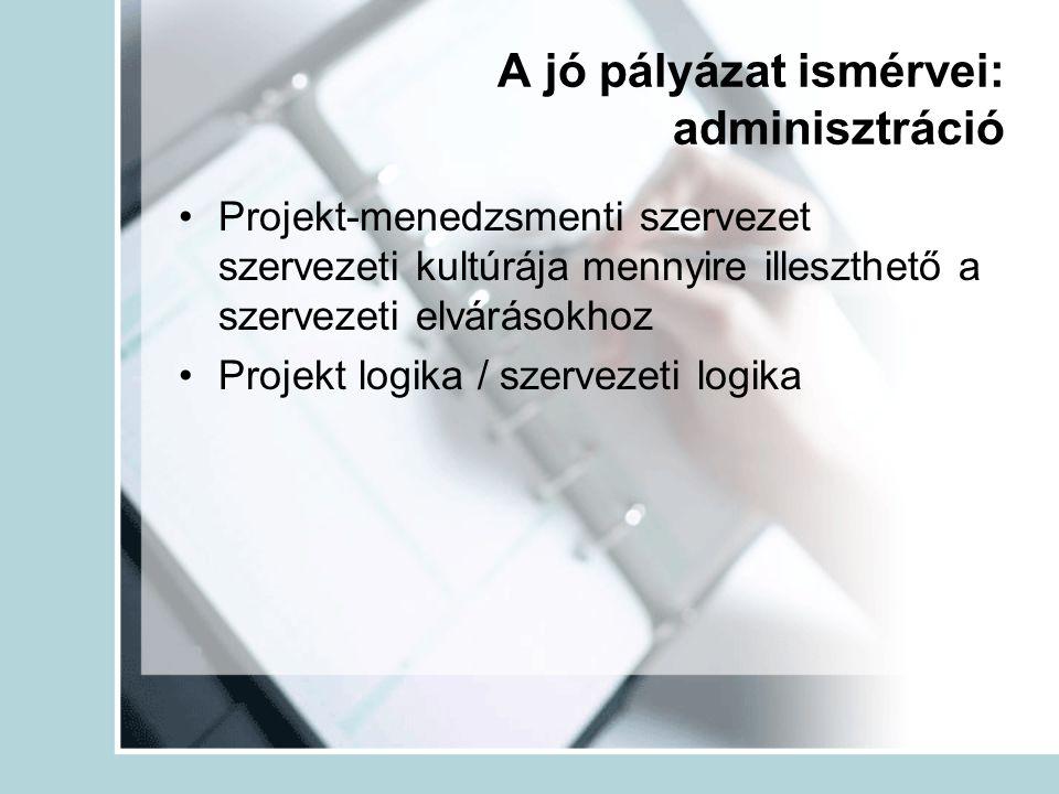 A jó pályázat ismérvei: adminisztráció Projekt-menedzsmenti szervezet szervezeti kultúrája mennyire illeszthető a szervezeti elvárásokhoz Projekt logi