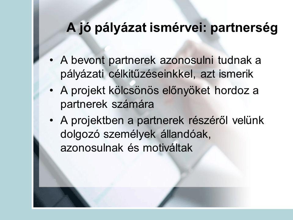 A jó pályázat ismérvei: partnerség A bevont partnerek azonosulni tudnak a pályázati célkitűzéseinkkel, azt ismerik A projekt kölcsönös előnyöket hordo