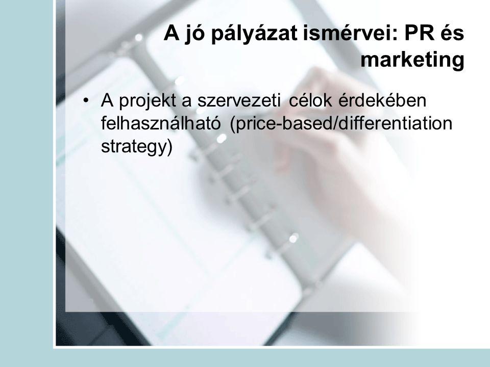 A jó pályázat ismérvei: PR és marketing A projekt a szervezeti célok érdekében felhasználható (price-based/differentiation strategy)