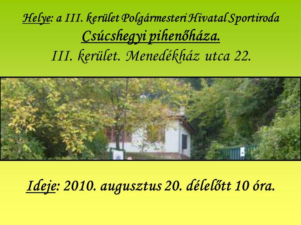 Helye: a III.kerület Polgármesteri Hivatal Sportiroda Csúcshegyi pihenőháza.