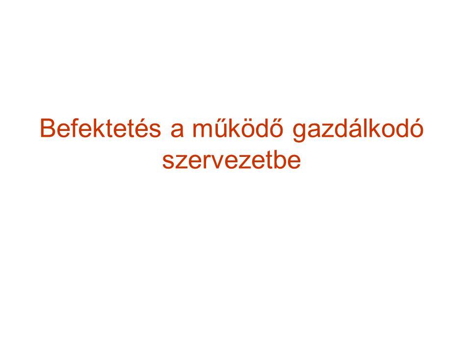 Kockázati tőke Magyarországon Magyarországon a kockázati tőke tevékenységét a kockázati tőke törvény (1998.