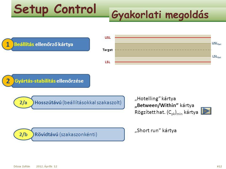 Setup Control Gyakorlati megoldás Target USL LSL USL Set LSL Set Hosszútávú (beállításokkal szakaszolt) 2/a Beállítás ellenőrző kártya 1 Gyártás-stabi