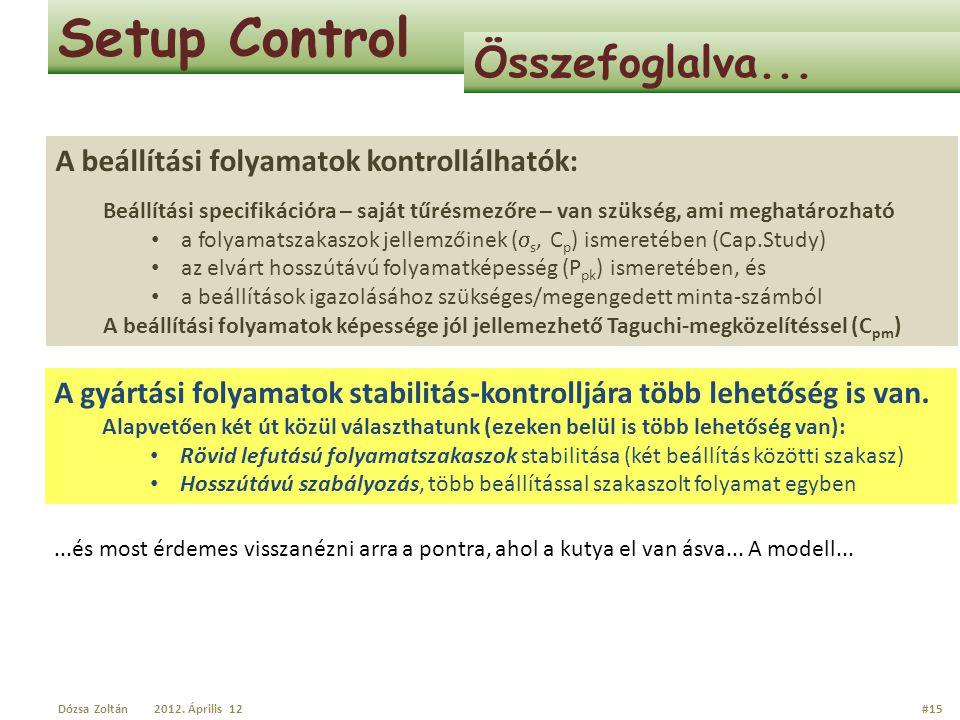 Setup Control Összefoglalva... A beállítási folyamatok kontrollálhatók: Beállítási specifikációra – saját tűrésmezőre – van szükség, ami meghatározhat