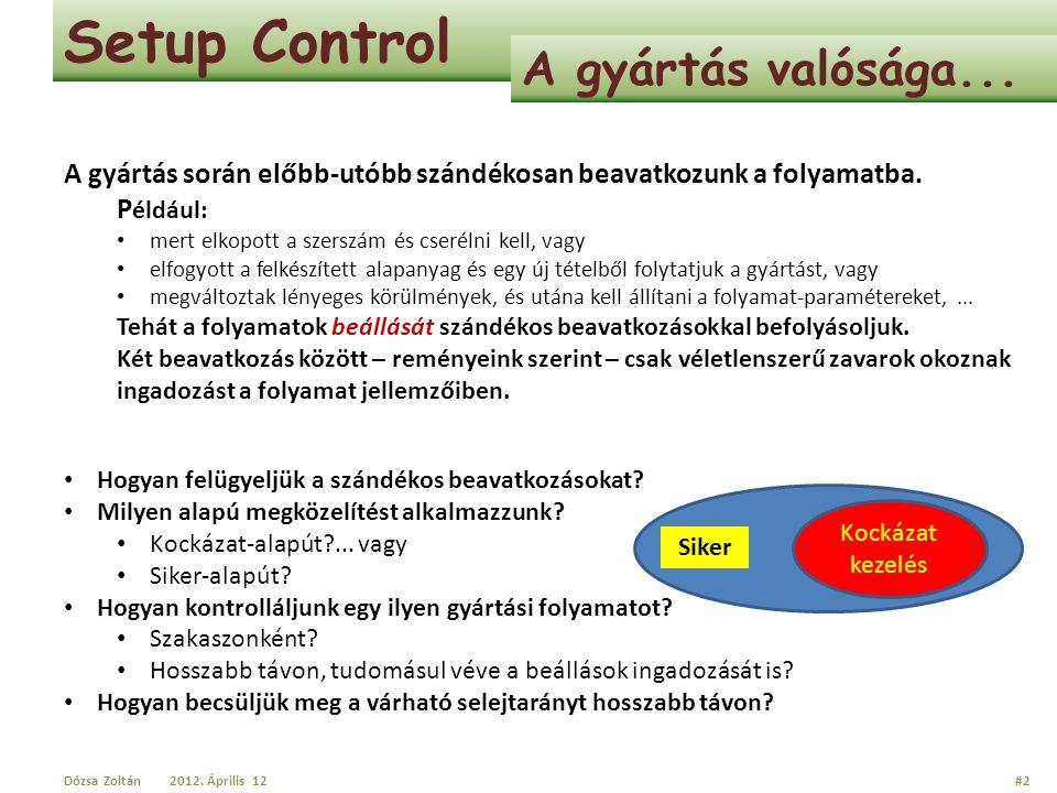 Setup Control A gyártás valósága... A gyártás során előbb-utóbb szándékosan beavatkozunk a folyamatba. P éldául: mert elkopott a szerszám és cserélni