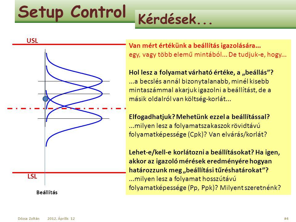 Setup Control Kérdések... USL LSL Van mért értékünk a beállítás igazolására... egy, vagy több elemű mintából... De tudjuk-e, hogy... Hol lesz a folyam