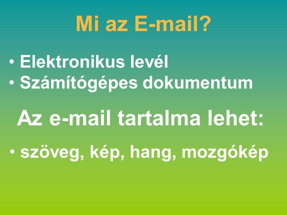 Mi az E-mail? Elektronikus levél Számítógépes dokumentum szöveg, kép, hang, mozgókép Az e-mail tartalma lehet:
