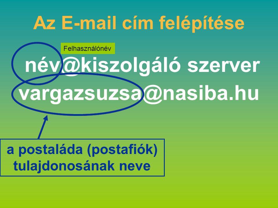 Az E-mail cím felépítése név@kiszolgáló szerver vargazsuzsa@nasiba.hu a postaláda (postafiók) tulajdonosának neve Felhasználónév