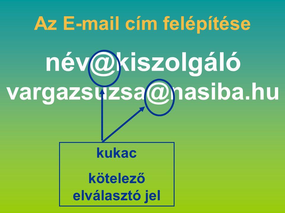 név@kiszolgáló vargazsuzsa@nasiba.hu Az E-mail cím felépítése kukac kötelező elválasztó jel
