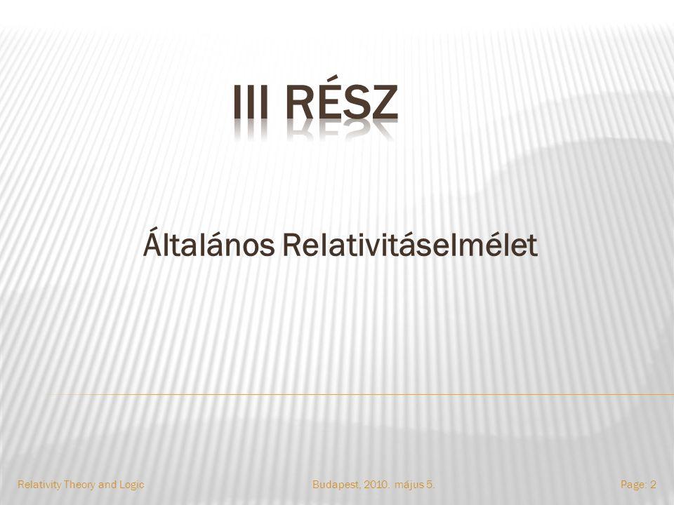 Általános Relativitáselmélet Budapest, 2010. május 5.Relativity Theory and LogicPage: 2