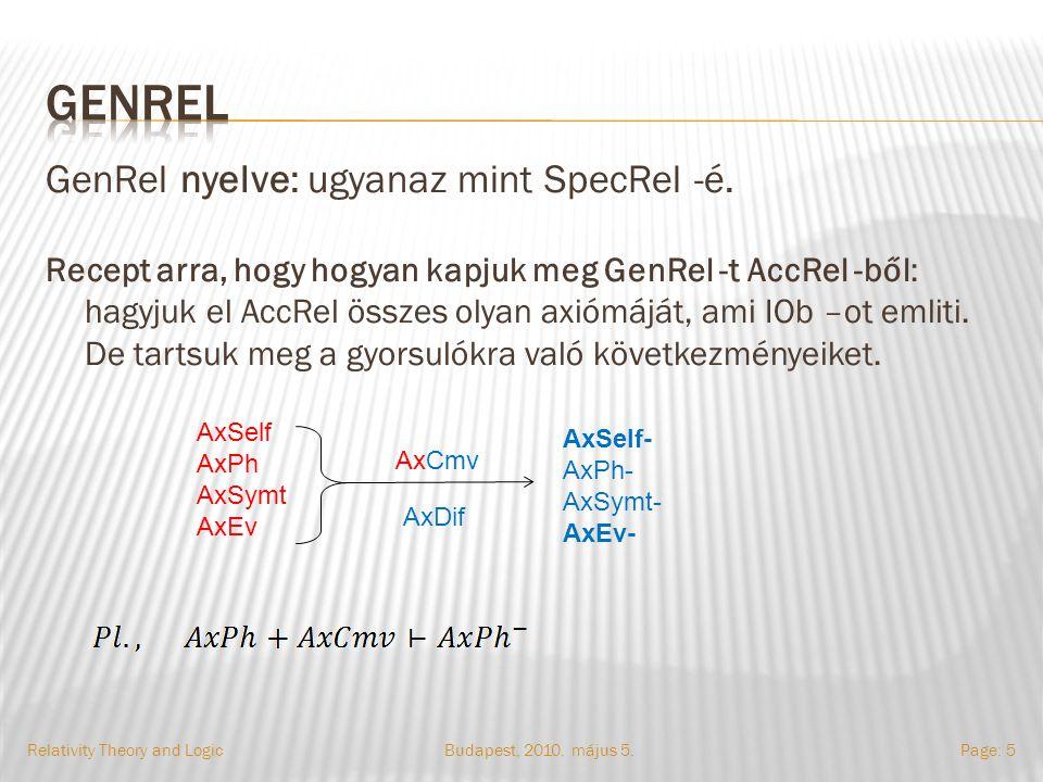 GenRel nyelve: ugyanaz mint SpecRel -é.