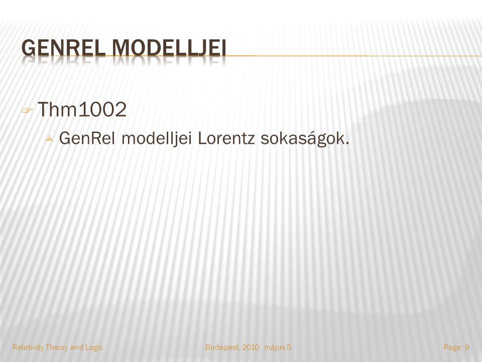  Thm1002  GenRel modelljei Lorentz sokaságok. Budapest, 2010.