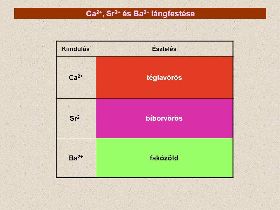 Ca 2+, Sr 2+ és Ba 2+ lángfestése KiindulásÉszlelés Ca 2+ téglavörös Sr 2+ bíborvörös Ba 2+ fakózöld