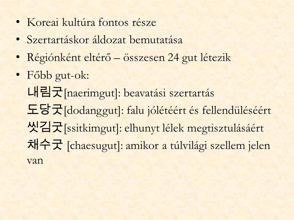 Koreai kultúra fontos része Szertartáskor áldozat bemutatása Régiónként eltérő – összesen 24 gut létezik Főbb gut-ok: 내림굿 [naerimgut]: beavatási szert