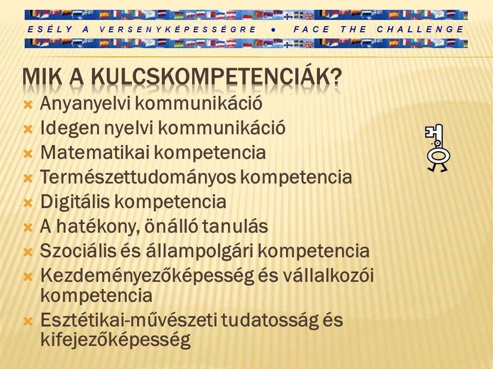 ESÉLY A VERSENYKÉPESSÉGRE ● FACE THE CHALLENGE  Anyanyelvi kommunikáció  Idegen nyelvi kommunikáció  Matematikai kompetencia  Természettudományos kompetencia  Digitális kompetencia  A hatékony, önálló tanulás  Szociális és állampolgári kompetencia  Kezdeményezőképesség és vállalkozói kompetencia  Esztétikai-művészeti tudatosság és kifejezőképesség