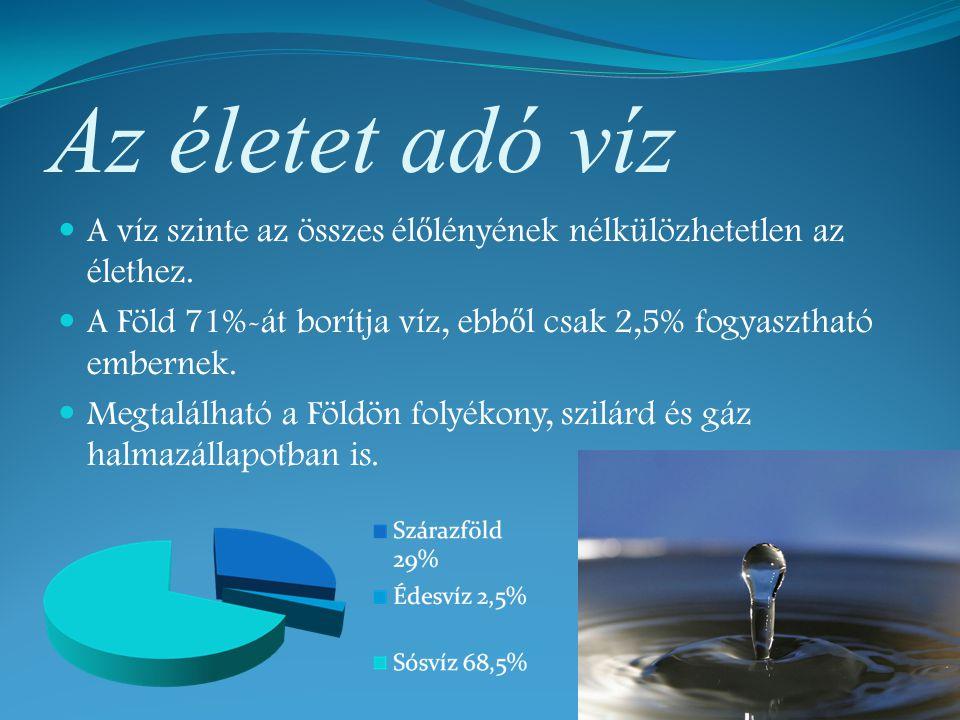 Az életet adó víz A víz szinte az összes él ő lényének nélkülözhetetlen az élethez. A Föld 71%-át borítja víz, ebb ő l csak 2,5% fogyasztható embernek