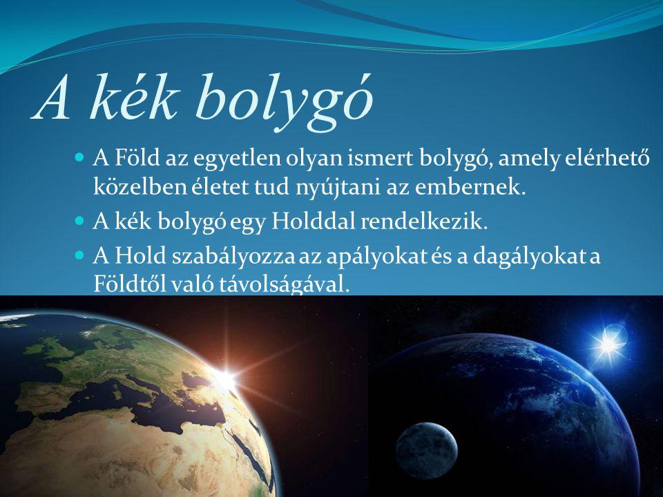 A kék bolygó A Föld az egyetlen olyan ismert bolygó, amely elérhető közelben életet tud nyújtani az embernek. A kék bolygó egy Holddal rendelkezik. A