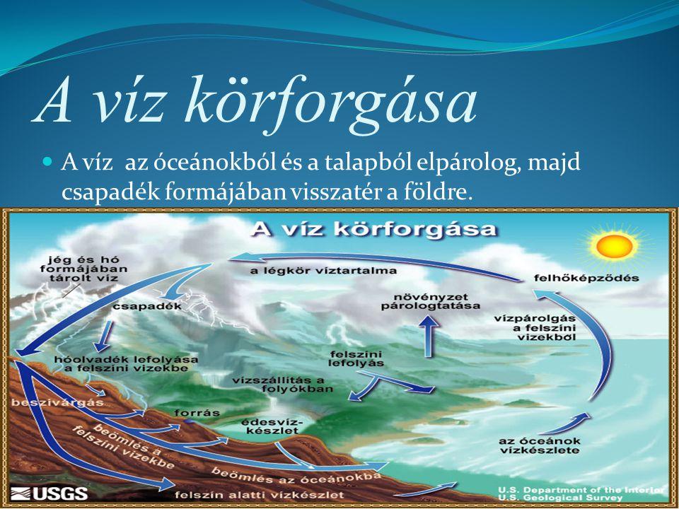 A víz körforgása A víz az óceánokból és a talapból elpárolog, majd csapadék formájában visszatér a földre.