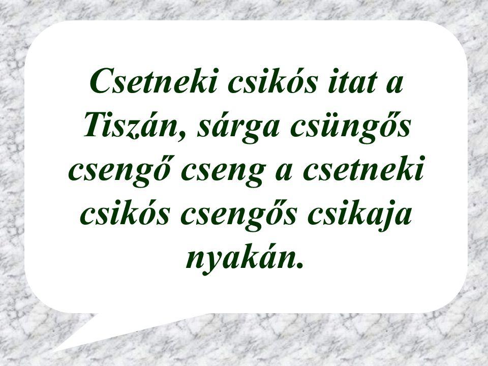 Csetneki csikós itat a Tiszán, sárga csüngős csengő cseng a csetneki csikós csengős csikaja nyakán.
