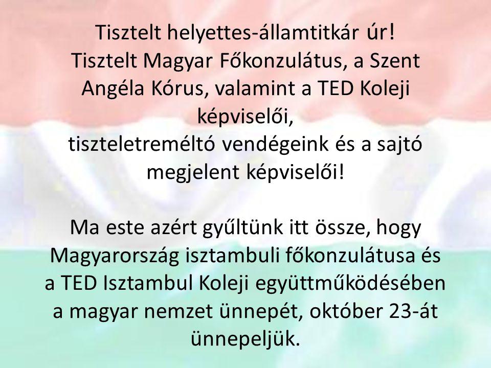 Tisztelt helyettes-államtitkár úr! Tisztelt Magyar Főkonzulátus, a Szent Angéla Kórus, valamint a TED Koleji képviselői, tiszteletreméltó vendégeink é
