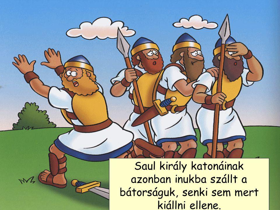 A Filiszteusok egy csapata Izraelbe ment, hogy Saul királlyal megmérkőzzön. Volt egy hatalmas harcosuk, akit Góliátnak hívtak, aki kihívta Saul király