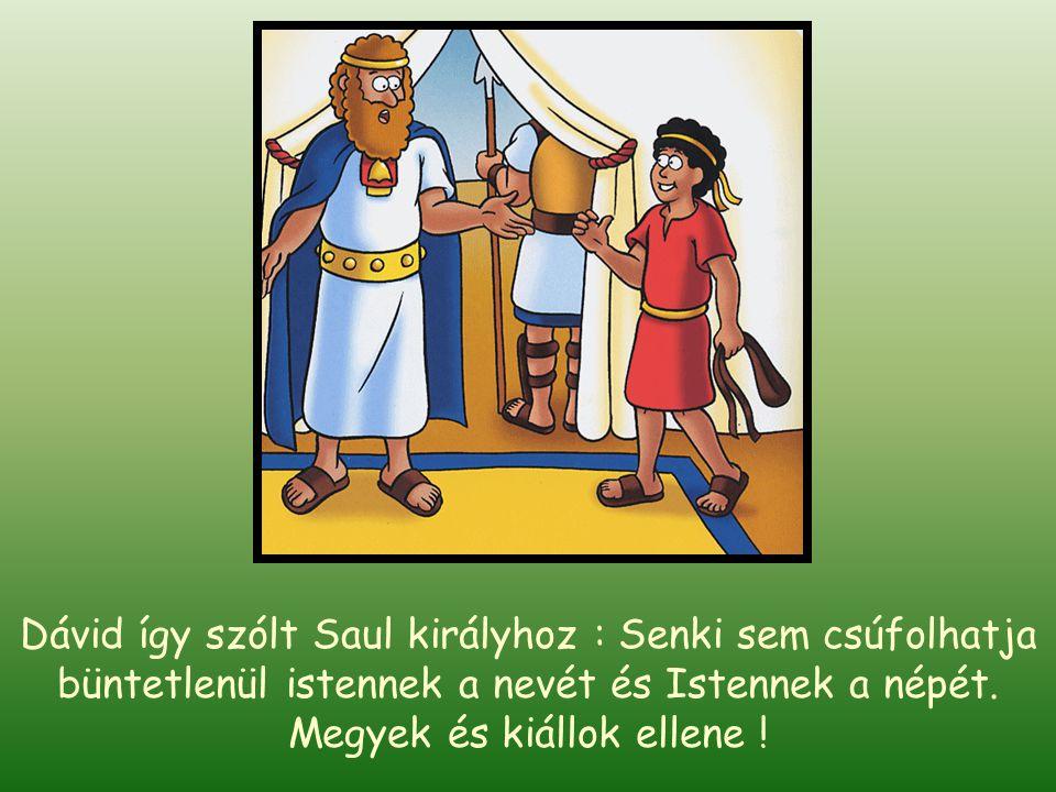 Egy fiatal fiú, Dávid éppen Saul király udvarába tartott, hogy a testvéreinek élelmet vigyen, akik Saul király hadseregébe szolgáltak. Ahogy közeledet