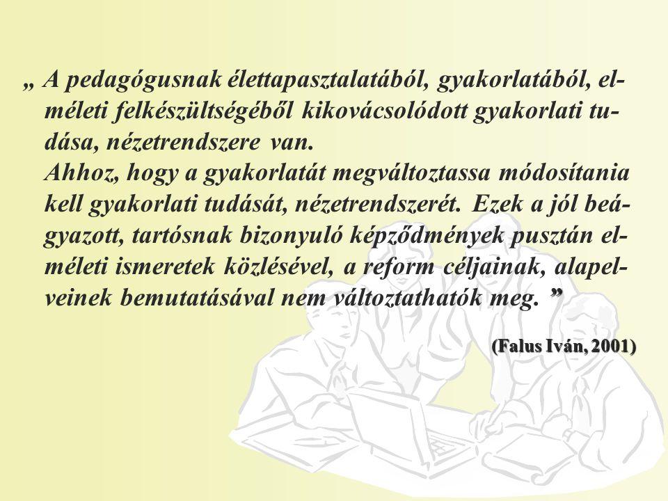"""(Falus Iván, 2001) """" A pedagógusnak élettapasztalatából, gyakorlatából, el- méleti felkészültségéből kikovácsolódott gyakorlati tu- dása, nézetrendszere van."""
