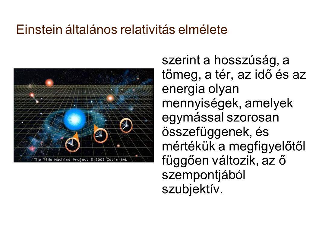 Einstein általános relativitás elmélete szerint a hosszúság, a tömeg, a tér, az idő és az energia olyan mennyiségek, amelyek egymással szorosan összef