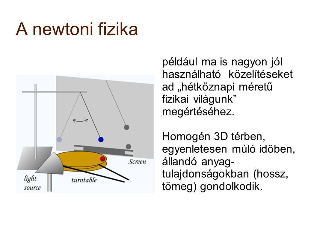 """A newtoni fizika például ma is nagyon jól használható közelítéseket ad """"hétköznapi méretű fizikai világunk"""" megértéséhez. Homogén 3D térben, egyenlete"""