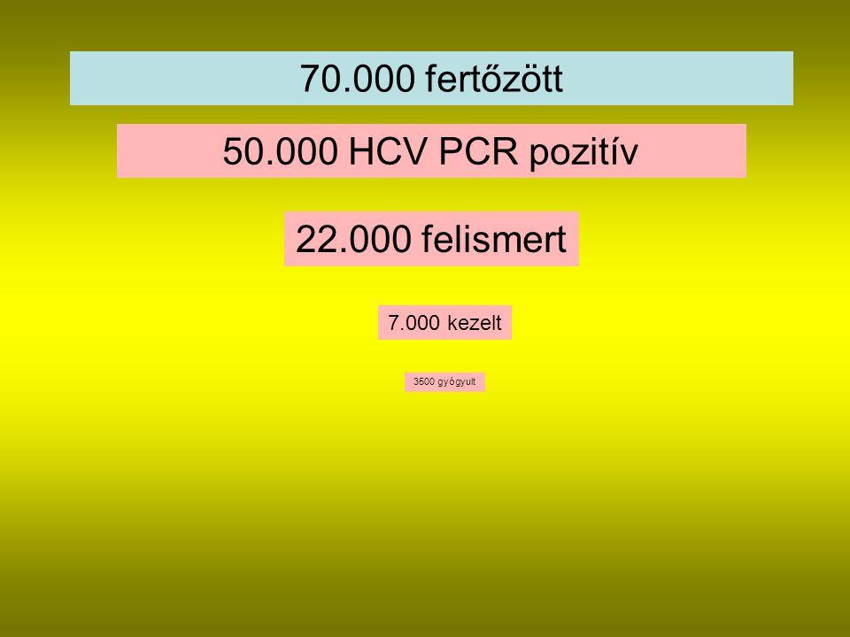 70.000 fertőzött 50.000 HCV PCR pozitív 22.000 felismert 7.000 kezelt 3500 gyógyult