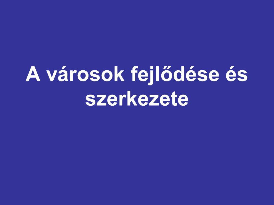 Belső munkahelyöv (city) Pénzügyi-kereskedelmi központ Irodaházak Sok munkahely, kevés lakóhely Budapest - Belváros