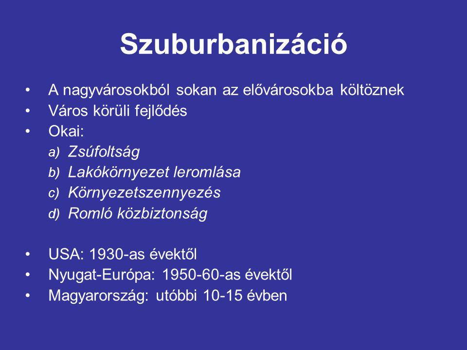 Dezurbanizáció (ellenvárosodás) A nagyváros és elővárosainak népessége is csökken Okai: a)Falusi térségek gyors városiasodása b)Javuló közlekedési és telekommunikációs feltételek A legfejlettebb országok: az 1970-es évektől