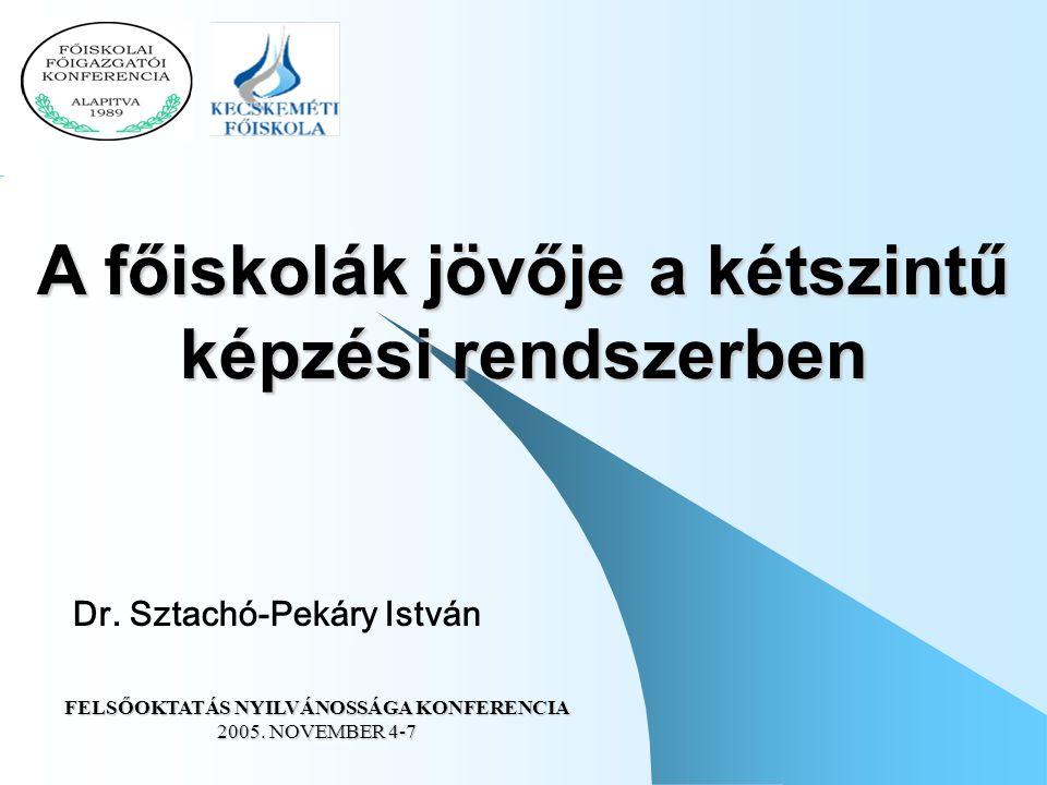 Dr. Sztachó-Pekáry István A főiskolák jövője a kétszintű képzési rendszerben FELSŐOKTATÁS NYILVÁNOSSÁGA KONFERENCIA 2005. NOVEMBER 4-7